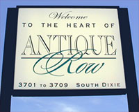 The Welcome to Antique Row sign greets antique shoppers in West Palm Beach Florida.