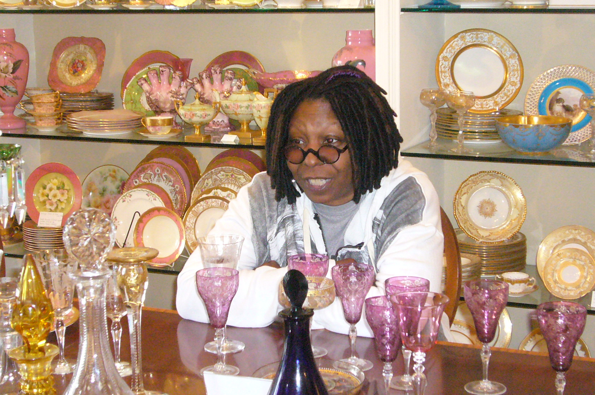 Whoopi Goldberg shopping for antiques on West Palm Beach Florida's Antique Row Art & Design District.